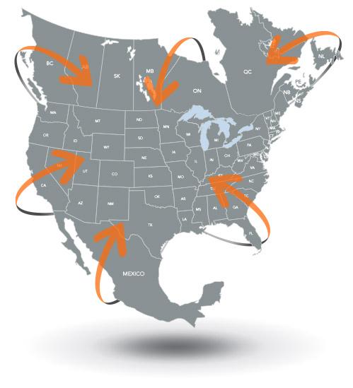 North American distribution map